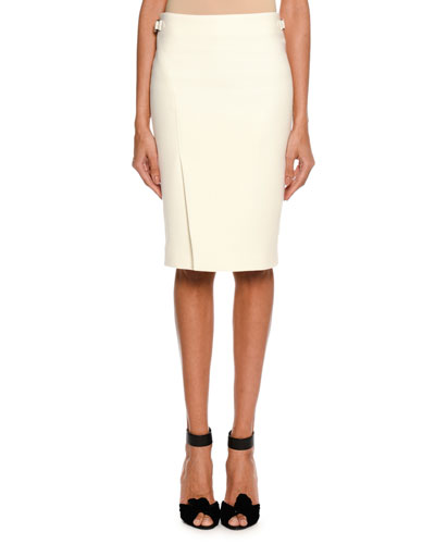 Wool Side-Slit Pencil Skirt, White