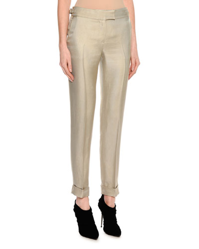 Shiny Viscose Cropped Pants, Gray