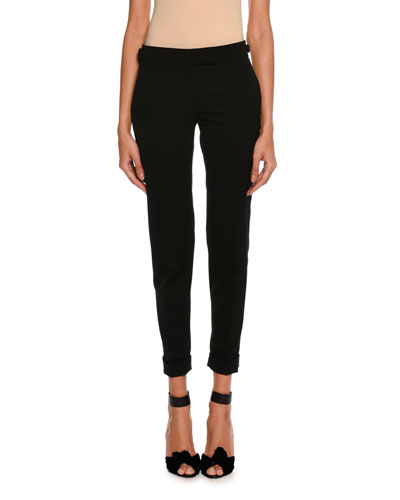 Slim-Fit Gabardine Cuffed Pants