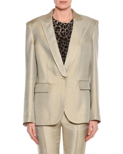 Oversized Shiny Viscose Jacket, Gray