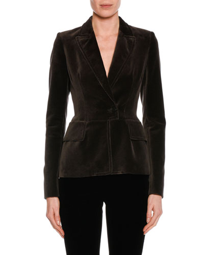 Fitted Velvet Tuxedo Jacket, Black