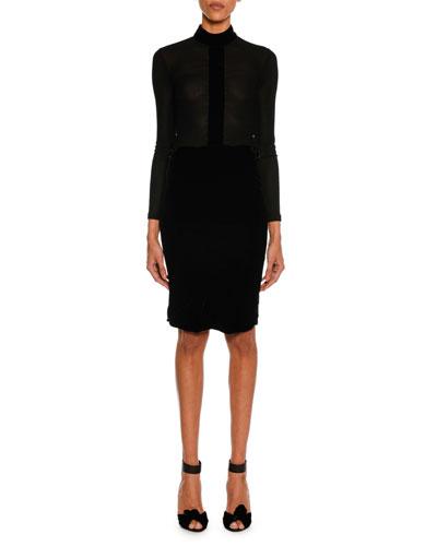 Long-Sleeve Jersey Turtleneck Top, Black