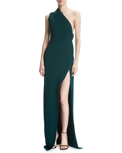One-Shoulder Crepe Gown, Forest