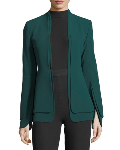 Split-Sleeve Crepe Jacket