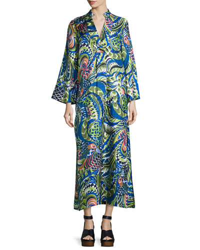Pavone Long-Sleeve Kaftan Dress, Green Pattern