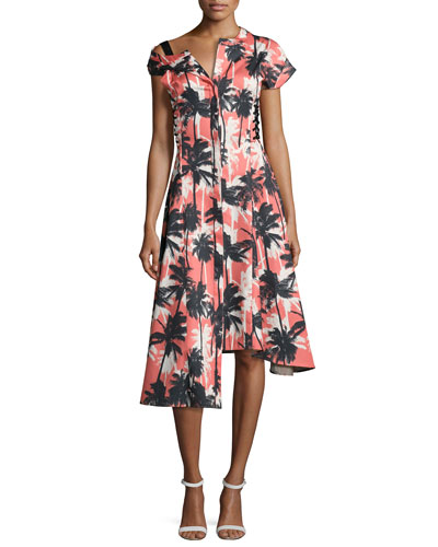 Asymmetric Palm-Print Shirtdress, Red Pattern