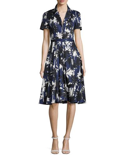 Short-Sleeve Palm-Print Shirtdress, Blue Pattern