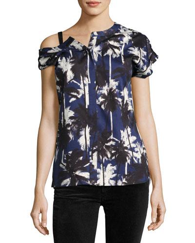 Asymmetric Palm-Print Blouse, Blue Pattern