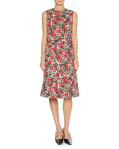 Sleeveless Floral-Print Dress, Green