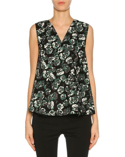 V-Neck Floral-Print Top, Green