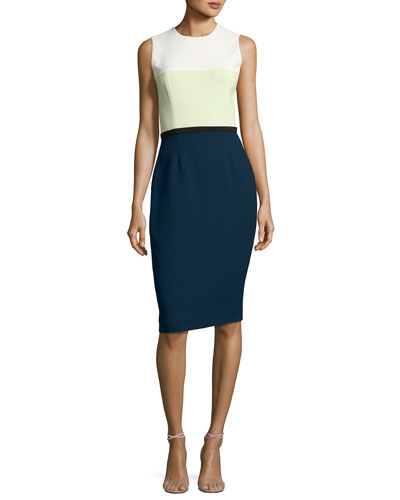 Sleeveless Colorblock Sheath Dress, Blue/Multi Pattern