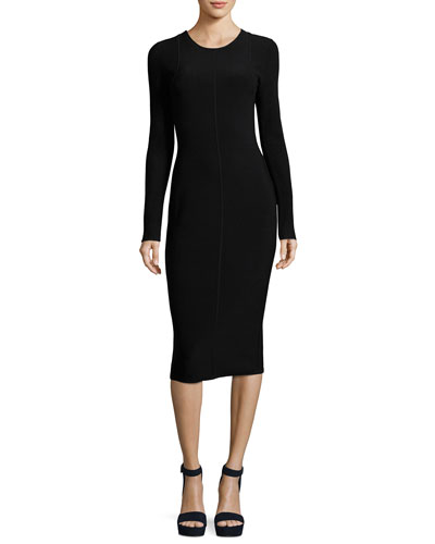 Long-Sleeve Ribbed Crewneck Dress