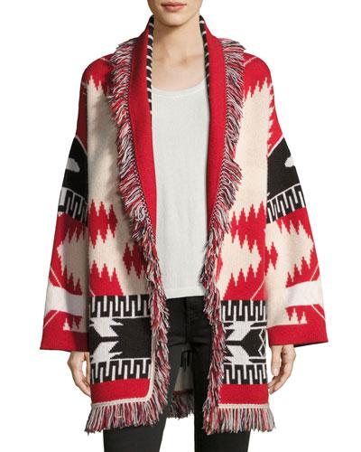Geometric Cashmere Robe Sweater, Red Pattern