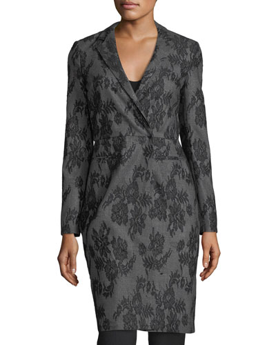 Lace-Embroidered Wrap Coat