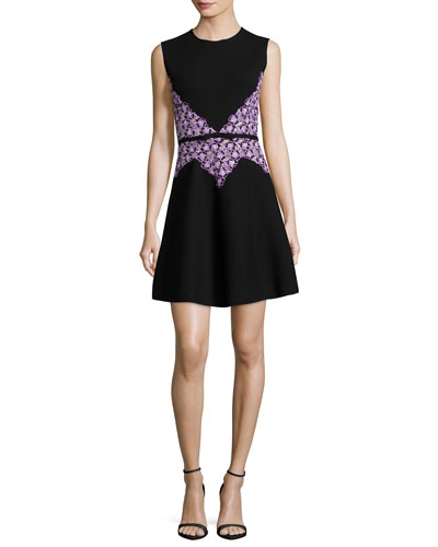 Sleeveless Lace-Trim Dress, Black/Purple