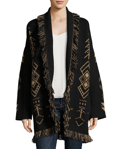Geometric Robe Sweater, Black Pattern