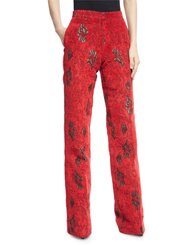 Velvet Floral Jacquard High-Waist Wide-Leg Pants