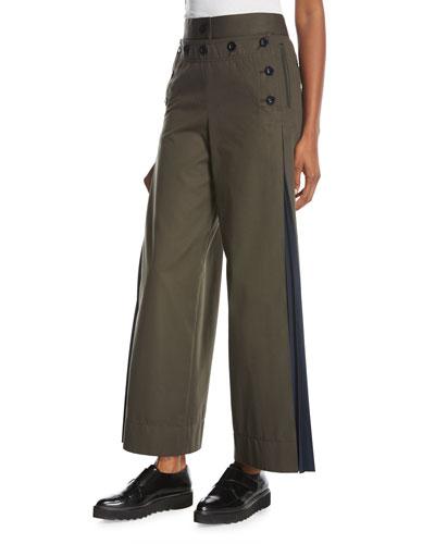 Wide-Leg Side-Pleat Pants, Khaki