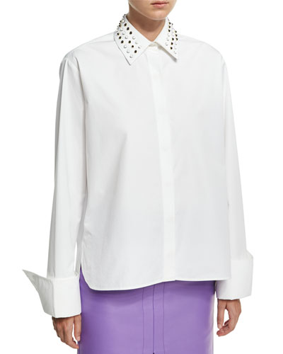 Studded-Collar Poplin Shirt, White