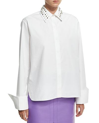 Studded-Collar Poplin Shirt, White
