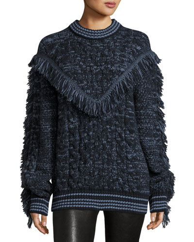 Marled Knit Cashmere Sweater, Blue