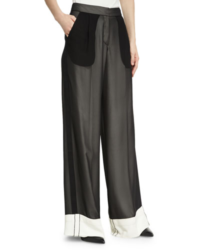 Double-Layer Chiffon Wide-Leg Tuxedo Pants