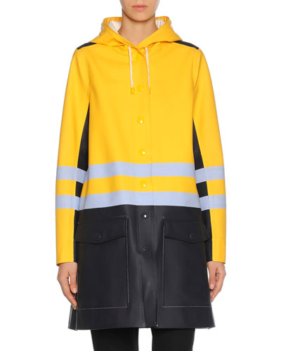 Colorblock Button-Front Raincoat