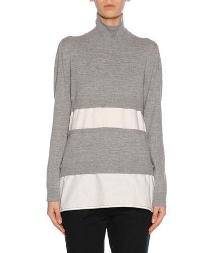 Knit Combo Turtleneck Sweater, Gray