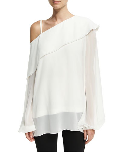 One-Shoulder Ruffled Chiffon Blouse