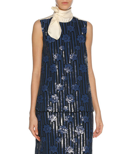 Sequined Flowerbed Tie-Neck Top, Blue