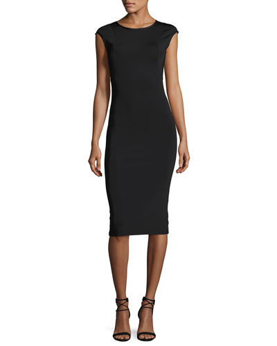 Cap-Sleeve Neoprene Dress, Black
