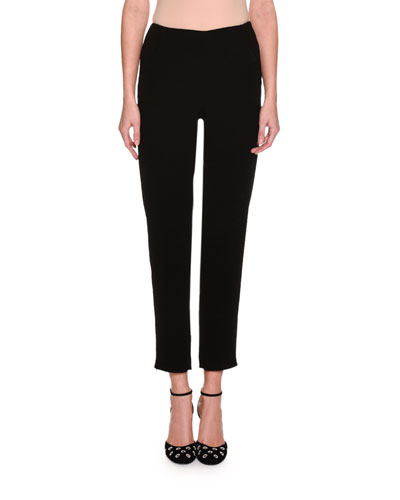 Cropped Straight-Leg Ankle-Zip Pants