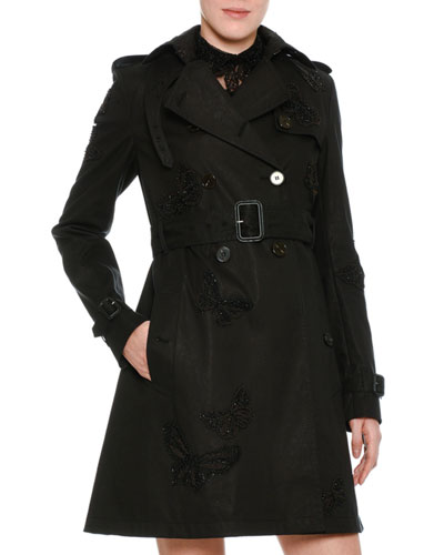 Butterfly-Embroidered Trenchcoat, Black