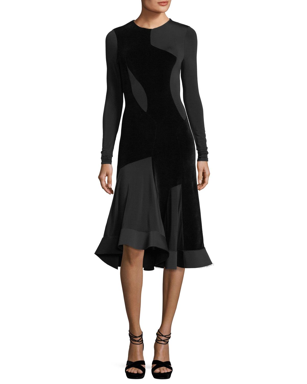 Long-Sleeve Flared Velvet Dress