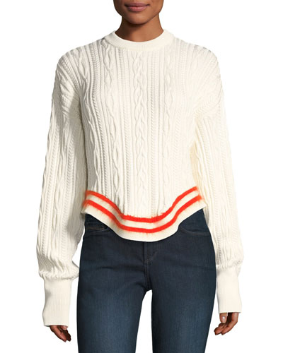 Crewneck Cable-Knit Poet-Sleeve Sweater
