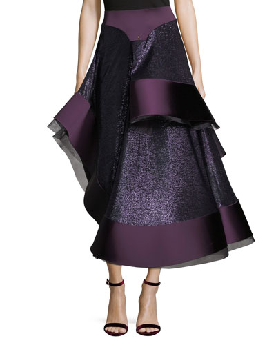 Patchwork Satin Cady Flamenco Skirt