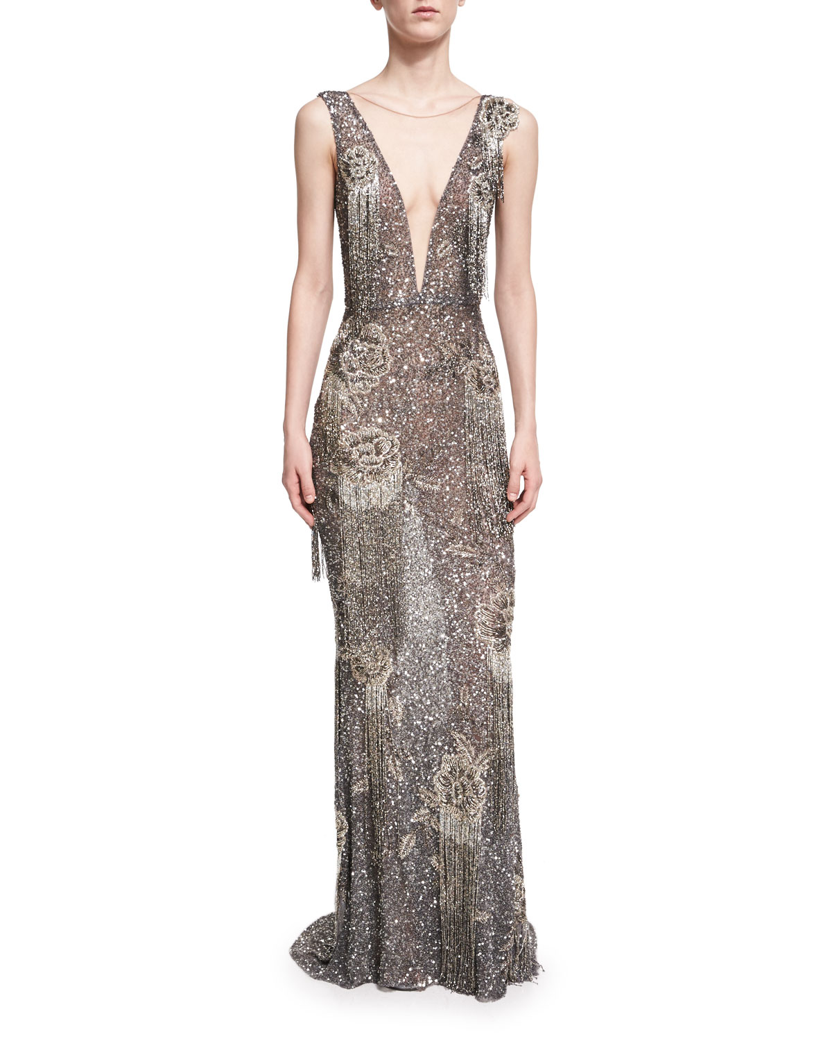 Floral Beaded Illusion V Column Gown