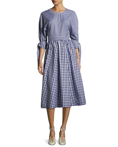 Gingham-Print Open-Back Cotton Dress, Blue/White