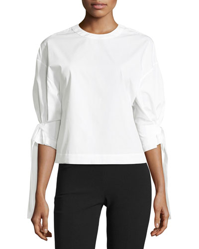 Crewneck Knotted Poplin Top, White