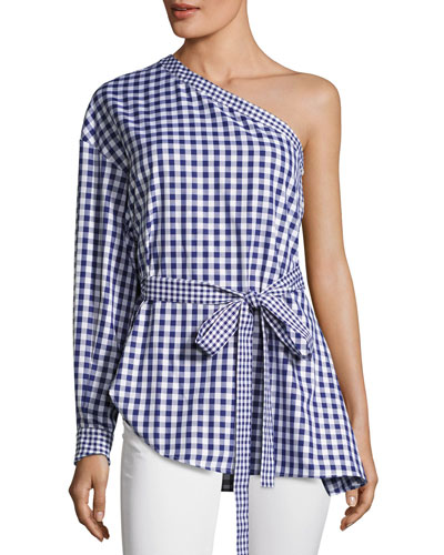 Gingham One-Shoulder Cotton Blouse, Blue/White