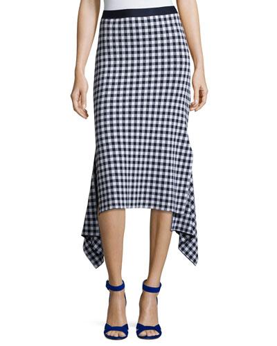 Gingham Check Midi Skirt, Blue/White