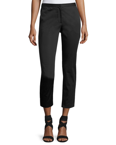 Cropped Cady Skinny Pants, Black