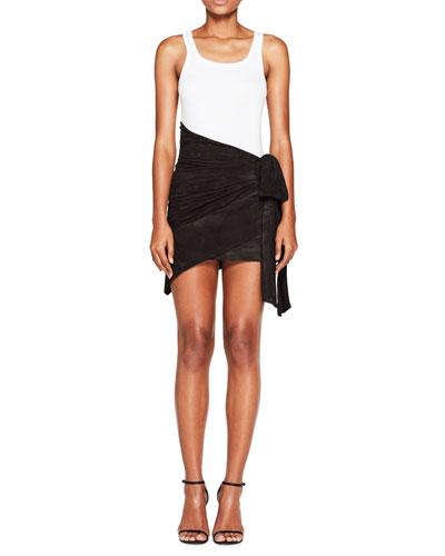 Asymmetric Suede Wrap Skirt