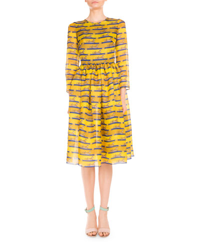 3/4-Sleeve Striped Lion-Print Dress, Yellow/Blue