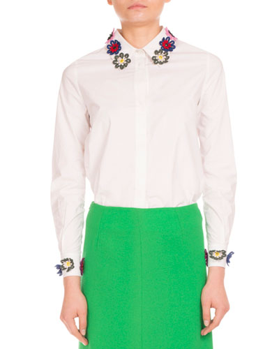 Flower-Embroidered Stretch-Poplin Blouse, White