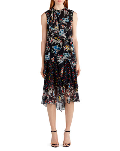 Sleeveless Mixed-Print Chiffon Top, Black Pattern