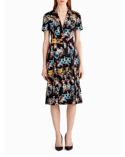 Short-Sleeve Floral-Print Shirtdress, Black Pattern