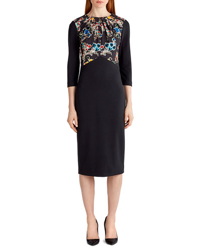 3/4-Sleeve Ponte Sheath Dress, Black Pattern