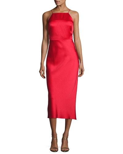 Crisscross-Back Satin Midi Dress, Red