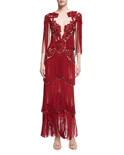 Beaded Illusion Fringe-Sleeve Gown